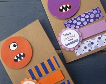 Cute Little Monster Birthday Card - orange or purple