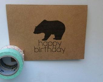 happy birthday bear kraft paper card & envelope