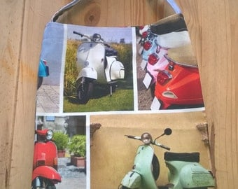 Handmade bag, retro mopeds design. 100% cotton