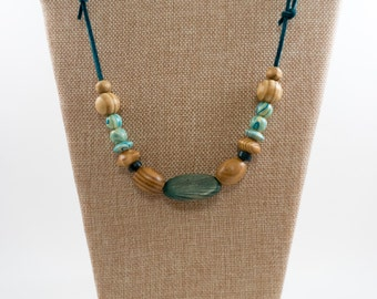 Leather Cord Beaded Necklace