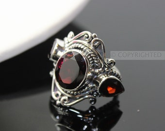 Garnet Ring, 925 Sterling Silver Ring, Gemstone Rings, Crystal Rings, Healing Rings
