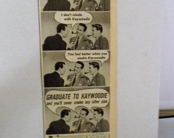 "1950 Kaywoodie Briar Tobacco Pipe B&W Magazine Ad Comic Style 14 x 5 1/2"""