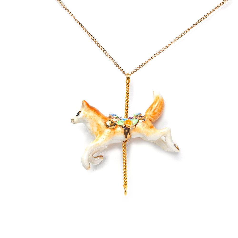 merry go porcelain fox pendant and gold plated necklace