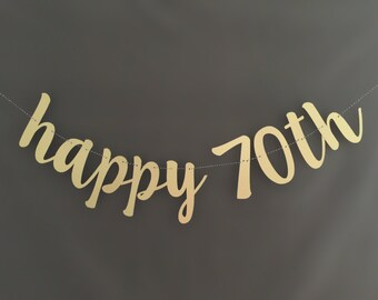 70th Birthday Decorations , Happy Birthday Banner, Glitter Banners, Birthday Banners, Party Banners