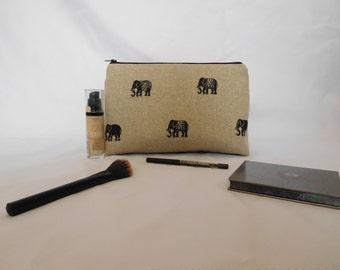 Elephant make up bag , wash bag , travel bag  purple lining waterproof lining Large