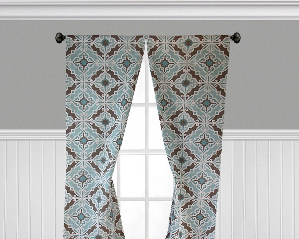 Turquoise Aqua Blue Curtains Window Treatments By Sewmanylinens