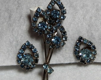Vintage Judy Lee Blue Rhinestone Brooch and Earring Set