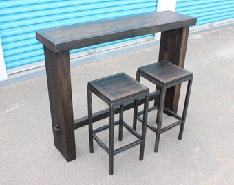 THE KIRRA SET 2- Bar Table and 2 x stools - reclaimed salvaged wood recycled - handmade - nyc pickup available