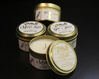 Mix & Match 4 Pack - 6oz Scented Candles-Soy Wax-Travel Tins-Sample Pack