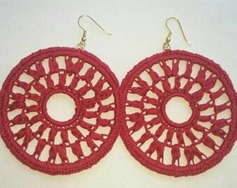 Large Diana Crochet Earrings- Red