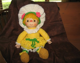Lemon Meringue Crocheted Doll.