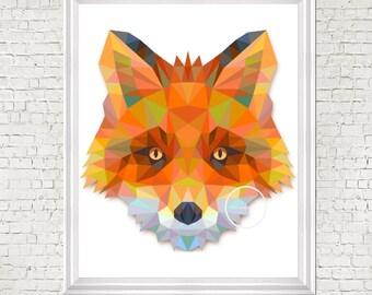 Geometric print, nursery art, fox, digital prints, nursery decor, kids room art, printable, nursery wall art, digital, modern nursery decor