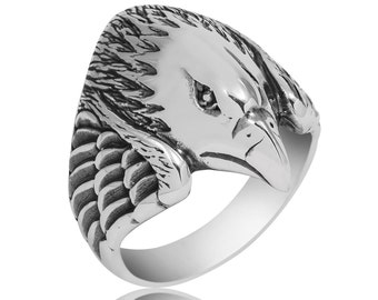 Eagle Ring, Eagle Mens Ring, Sterling Silver Eagle Mens Ring, 925 Sterling Silver Eagle Mens Ring