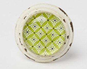 Moroccan Inspired Drawer / Door Knob ~ Lime Green and Cream