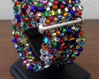 Multicolored Rocaille Glass Right Angle Weave Cuff Bracelet