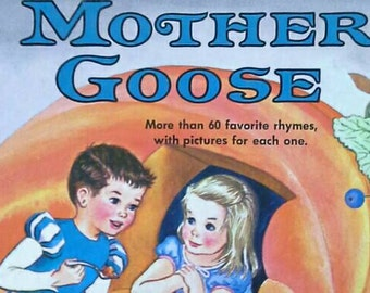 Vintage 1958 1st Edition Giant Golden Book, MOTHER GOOSE #5007-A
