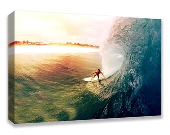SURFER BETWEEN The Wave Sunset Canvas Wall Art