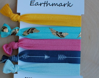 Tribal Hairbands 5-pack | Fold Over Elastic Hairties | FOE Hair ties | No Crease Hair bands | Feather | Arrow | Top knot