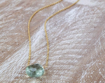 Green Amethyst Necklace/Faceted Green Amethyst Briolette Necklace/February Birthstone