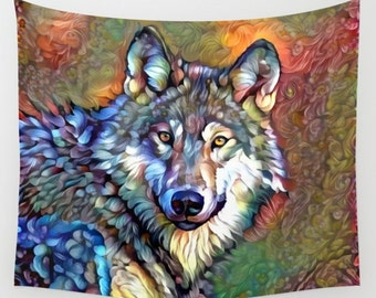 Wolf Tapestry, Animal Tapestry, Wolf Wall Decor, Nature Tapestry, Wolf Wall Hanging, Wildlife Wall Hanging, Animal Wall Hanging, Wolf Decor
