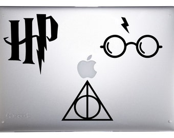 Harry Potter Car decals - The Essential Harry Potter set of 3!! Deathly Hallows decal, Glasses and Scar decal, and HP decal - Laptop decal