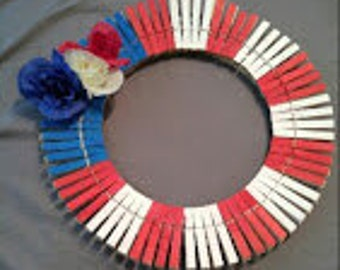 14 Inch Red, White, and Blue Wreath.