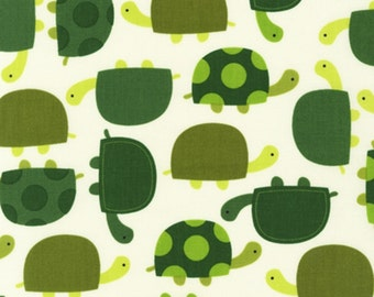 Robert Kaufman Zoologie Green Turtles Woven Cotton Fabric - By the Yard