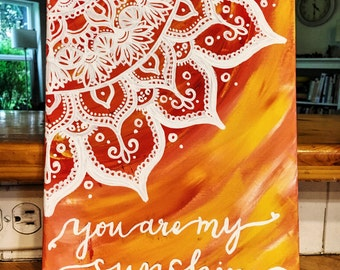 You Are My Sunshine Hand Lettered Quote Canvas Painting Wall Art Wall Room Decor