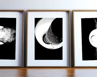 Minimal, abstract art collection set 3 photographs. Black and white. Home decor,