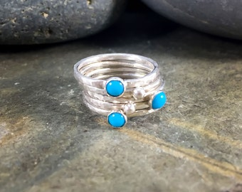 Handmade stacking ring set, Sterling silver stack rings, Persian turquoise stacking rings