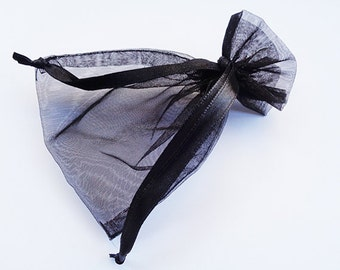Black Organza Drawstring Ring Jewellery Gift Pouch