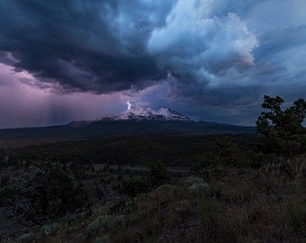 Mt. Shasta Thunderstorm 12X18 Inch chromogenic print on on Fuji Crystal Archive professional paper, Lustre finish.