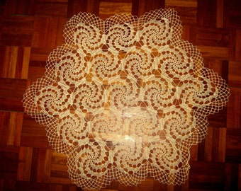 Hand Knitted Cotton Tablecloth,Hexagonal shaped,Free Sheeping