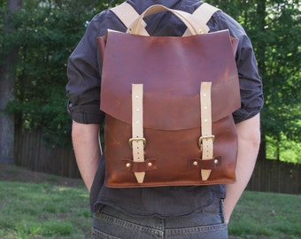 Handcrafted Full Grain Leather Backpack Rucksack / Horween Leather / Custom Made to Order MTO   /  Made in USA