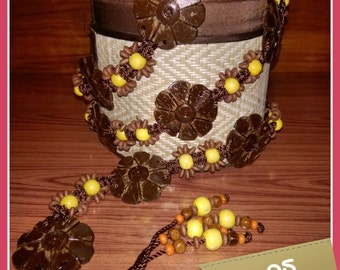 Handmade belt, Handmade beads belt, Coconut shell belt, Flower belt