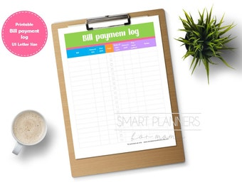 "Bill payment log planner insert, printable. Bill tracker checklist. US Letter (8.5""x11"") Size, Portrait. Instant download."