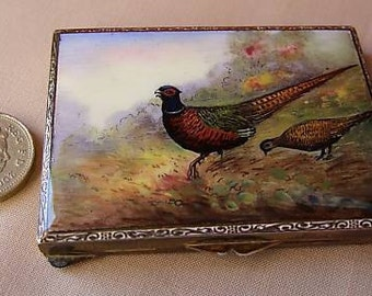 Beautifully hand painted and enamelled antique compact - pheasants