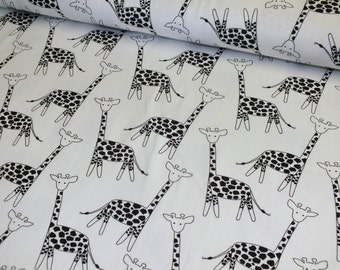 Cotton Jersey giraffes White Black Jersey fabric fabric by the metre 0.50 metres