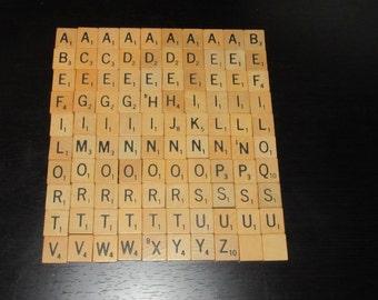 Set of 100 Authentic Scrabble Tiles, Complete Scrabble tile set, Scrabble Letters A to Z, Genuine Scrabble tiles,Scrabble board game letters