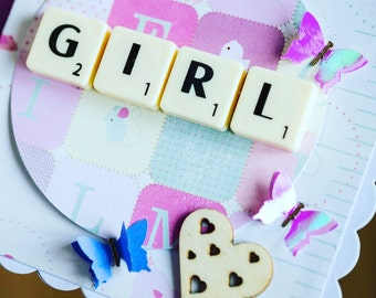 Baby girl scrabble card