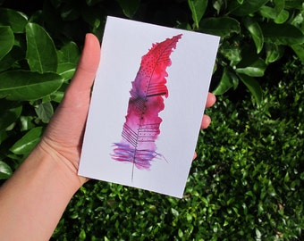 Pink Feather Card, Blank Card, Watercolour Card Print, Pink And White