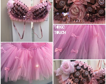 Pretty In Pink Rave Outfit - 34C Bra and Tutu