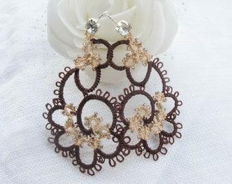 Tatting Lace earrings handmade  jewelry