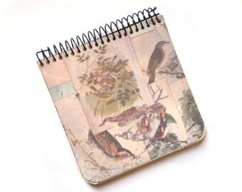 Artisan notebook (11 x 10.5 cm) |  Decoration birds |  Paper recycling | Handmade notebook