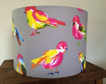 Hand made rolled-edge 30cm 'Grey Finch' fabric lampshade