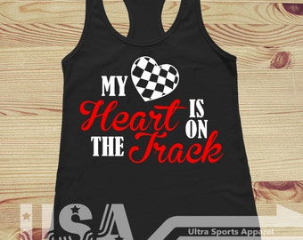 Racing - My Heart is on the Track Customizable Tank Top
