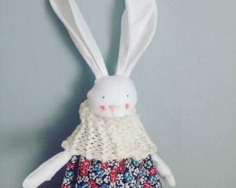 Snow bunny, handmade unique dressup critter. Adorable!