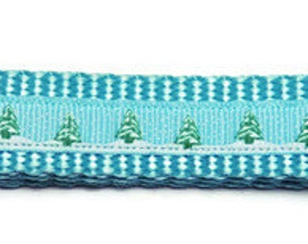 Small Light Blue Christmas Tree/Snow Dog Collar