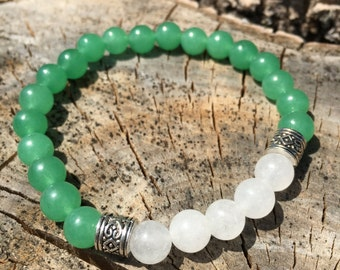Beautiful Jade and Moonstone Meditation Bracelet