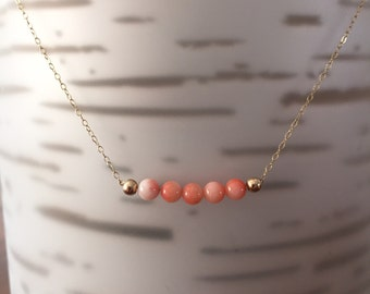 Peach Mini Gold/Sterling Silver Necklace